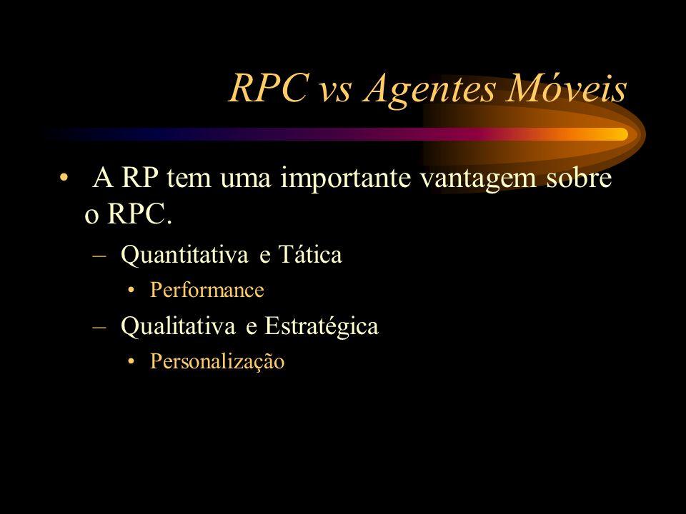 RPC vs Agentes Móveis A RP tem uma importante vantagem sobre o RPC. – Quantitativa e Tática Performance – Qualitativa e Estratégica Personalização