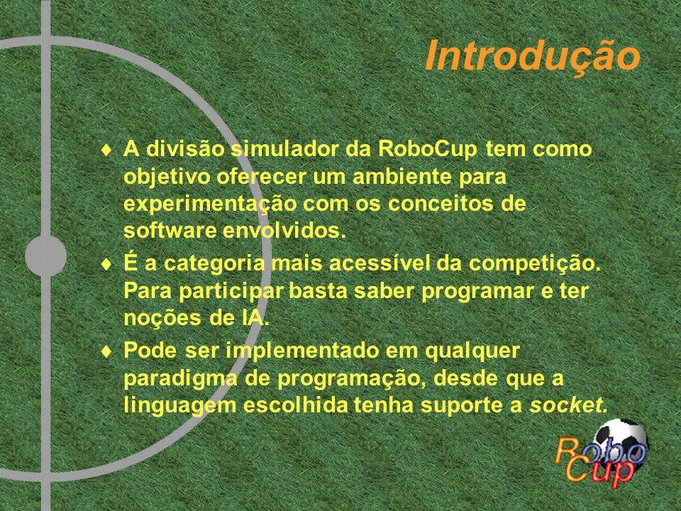 Introdução A divisão simulador da RoboCup tem como objetivo oferecer um ambiente para experimentação com os conceitos de software envolvidos. É a cate