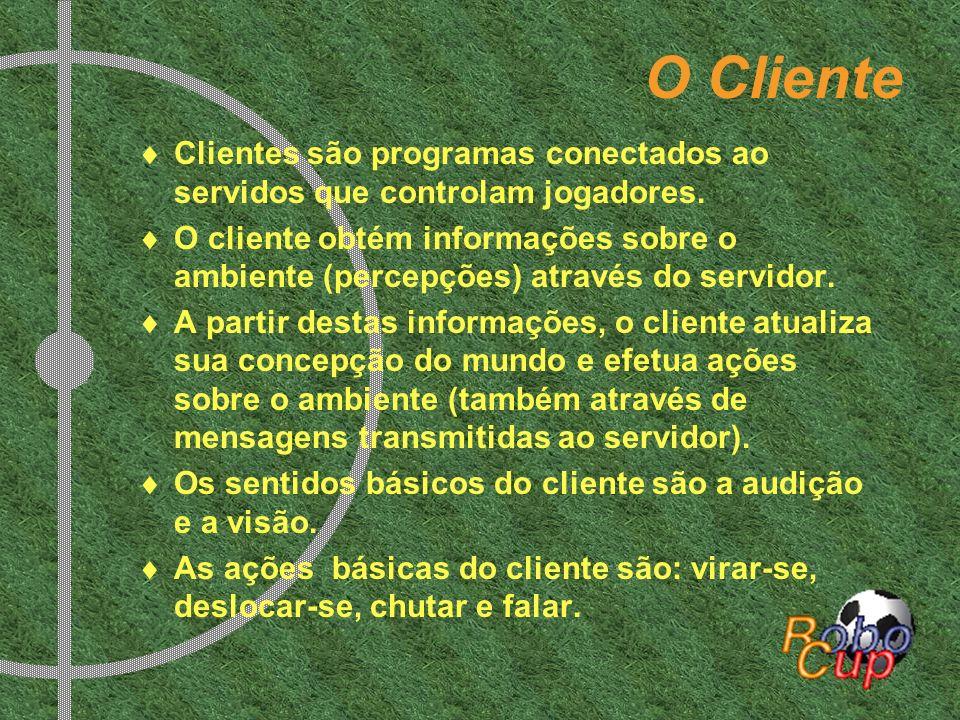 O Cliente Clientes são programas conectados ao servidos que controlam jogadores. O cliente obtém informações sobre o ambiente (percepções) através do