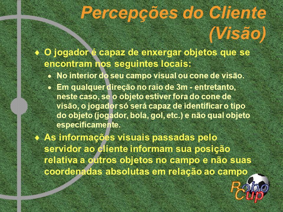 Percepções do Cliente (Visão) O jogador é capaz de enxergar objetos que se encontram nos seguintes locais: No interior do seu campo visual ou cone de