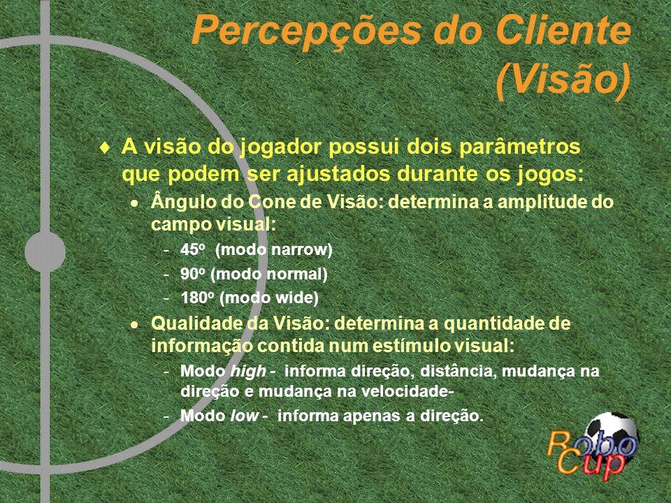 Percepções do Cliente (Visão) A visão do jogador possui dois parâmetros que podem ser ajustados durante os jogos: Ângulo do Cone de Visão: determina a