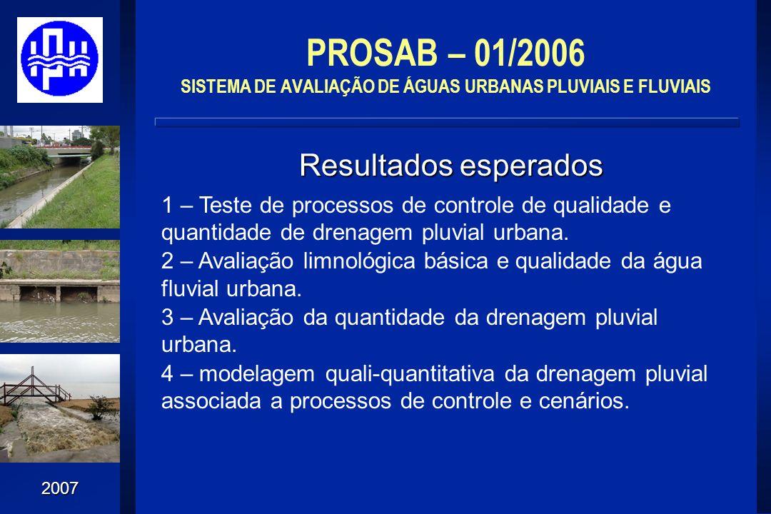 2007 PROSAB – 01/2006 SISTEMA DE AVALIAÇÃO DE ÁGUAS URBANAS PLUVIAIS E FLUVIAIS Resultados esperados 1 – Teste de processos de controle de qualidade e