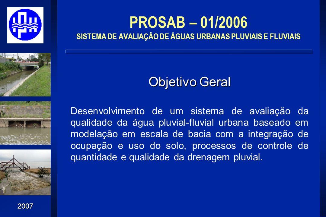 2007 Objetivo Geral Desenvolvimento de um sistema de avaliação da qualidade da água pluvial-fluvial urbana baseado em modelação em escala de bacia com