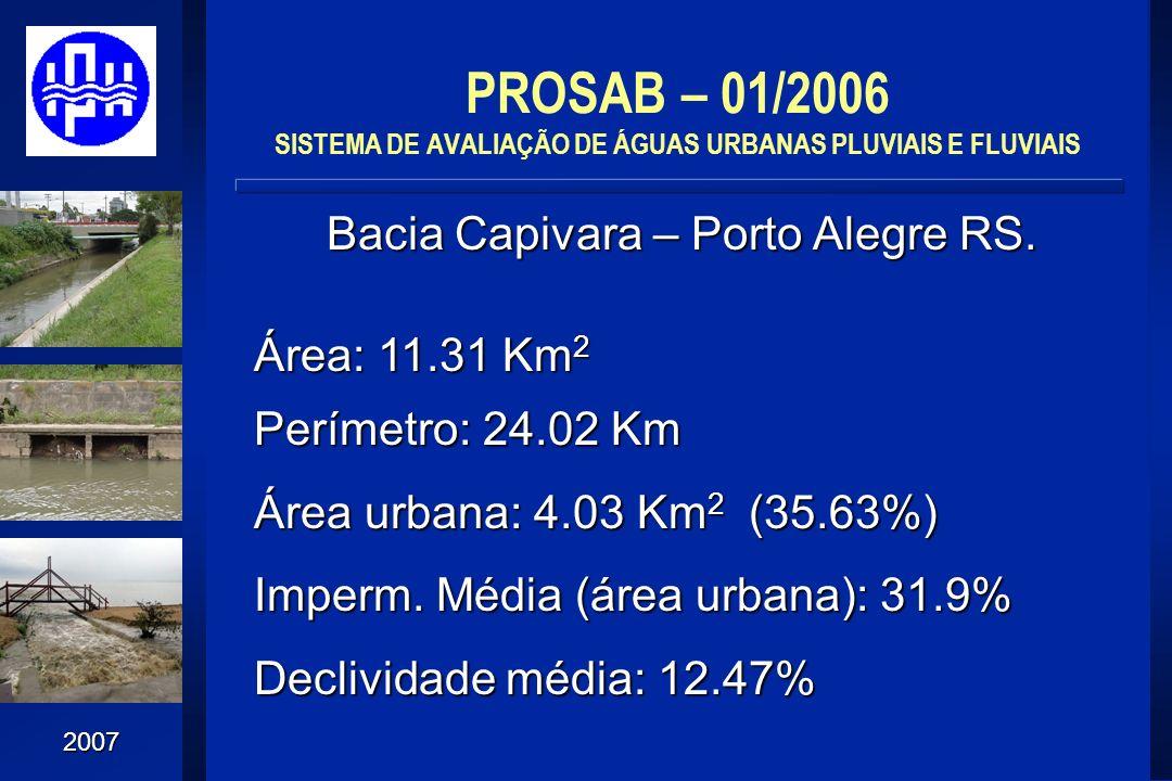 2007 Bacia Capivara – Porto Alegre RS. PROSAB – 01/2006 SISTEMA DE AVALIAÇÃO DE ÁGUAS URBANAS PLUVIAIS E FLUVIAIS Área: 11.31 Km 2 Perímetro: 24.02 Km