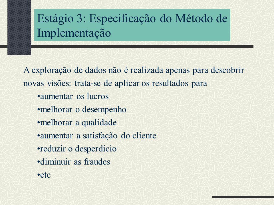 Estágio 3: Especificação do Método de Implementação A exploração de dados não é realizada apenas para descobrir novas visões: trata-se de aplicar os resultados para aumentar os lucros melhorar o desempenho melhorar a qualidade aumentar a satisfação do cliente reduzir o desperdício diminuir as fraudes etc