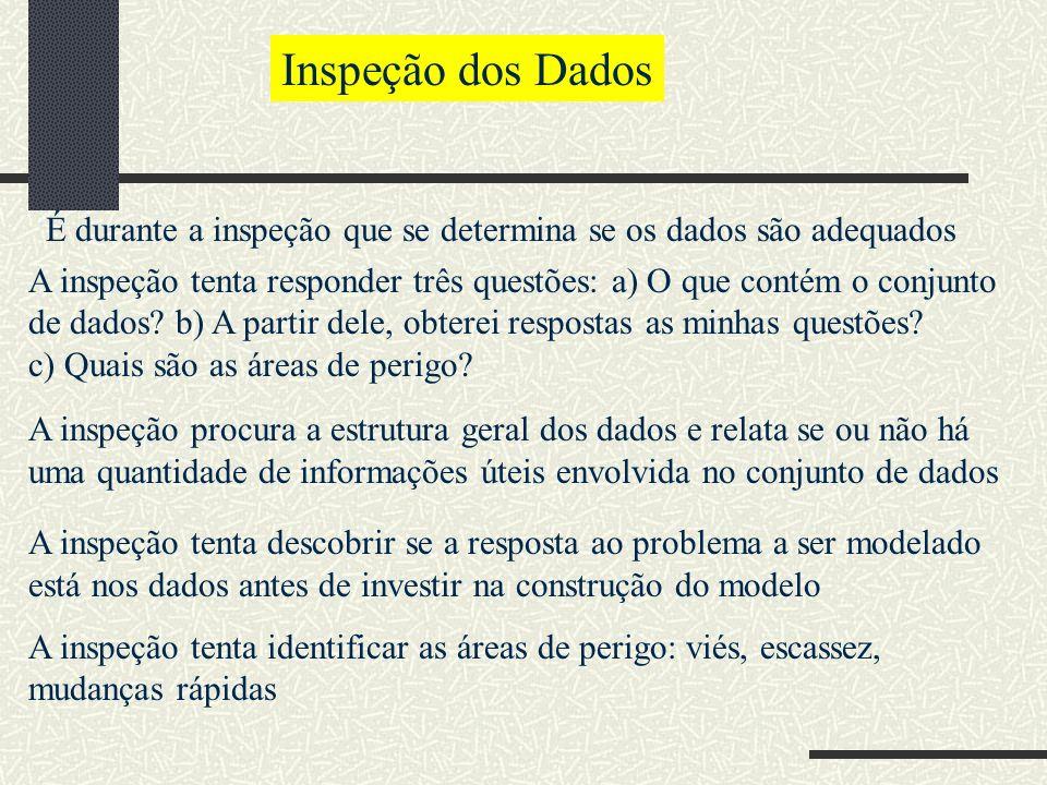 Inspeção dos Dados É durante a inspeção que se determina se os dados são adequados A inspeção tenta responder três questões: a) O que contém o conjunto de dados.