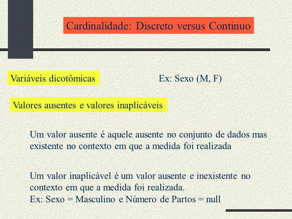 Cardinalidade: Discreto versus Continuo Variáveis dicotômicasEx: Sexo (M, F) Valores ausentes e valores inaplicáveis Um valor ausente é aquele ausente no conjunto de dados mas existente no contexto em que a medida foi realizada Um valor inaplicável é um valor ausente e inexistente no contexto em que a medida foi realizada.