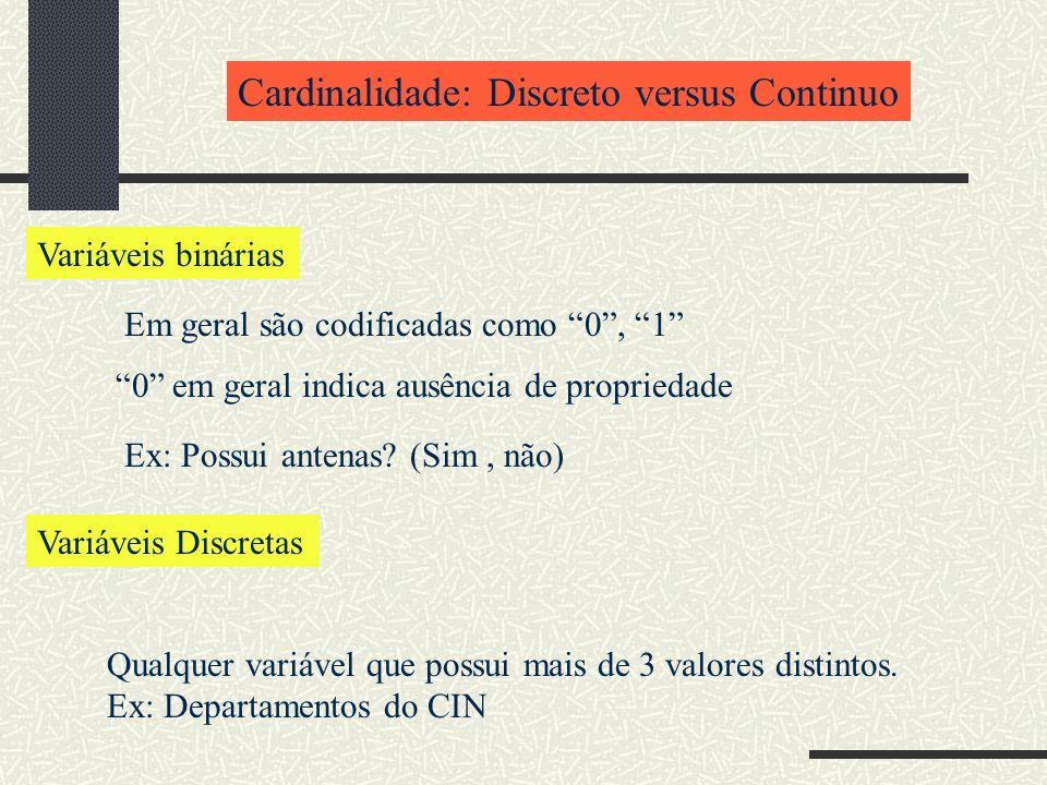 Cardinalidade: Discreto versus Continuo Variáveis binárias Em geral são codificadas como 0, 1 Variáveis Discretas Qualquer variável que possui mais de 3 valores distintos.