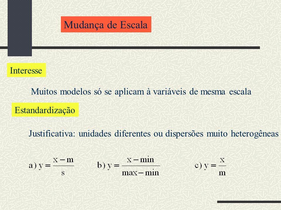 Mudança de Escala Interesse Muitos modelos só se aplicam à variáveis de mesma escala Estandardização Justificativa: unidades diferentes ou dispersões muito heterogêneas
