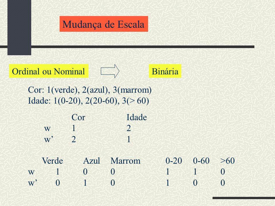 Mudança de Escala Cor: 1(verde), 2(azul), 3(marrom) Idade: 1(0-20), 2(20-60), 3(> 60) CorIdade w12 w21 VerdeAzulMarrom0-200-60>60 w 100110 w010100 Ordinal ou NominalBinária