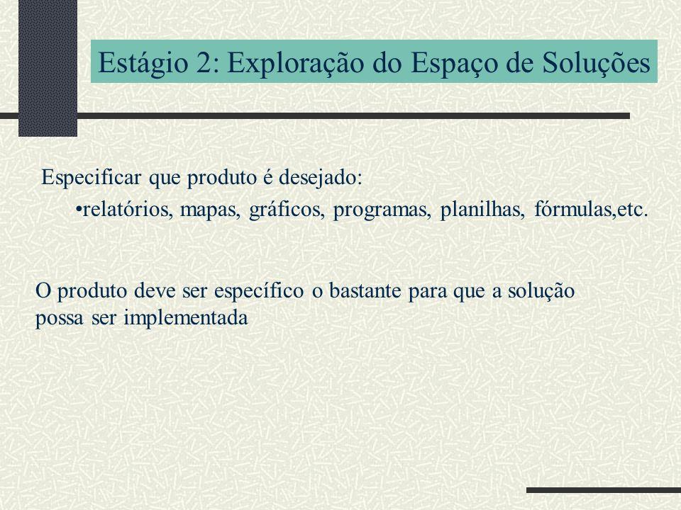 Estágio 2: Exploração do Espaço de Soluções Especificar que produto é desejado: relatórios, mapas, gráficos, programas, planilhas, fórmulas,etc.