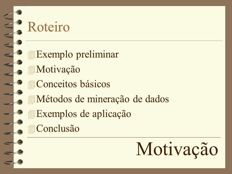 Motivação Roteiro 4 Exemplo preliminar 4 Motivação 4 Conceitos básicos 4 Métodos de mineração de dados 4 Exemplos de aplicação 4 Conclusão