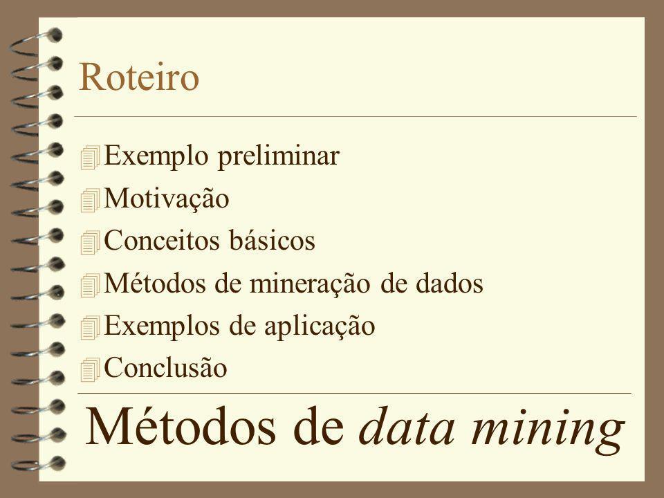 Métodos de data mining Roteiro 4 Exemplo preliminar 4 Motivação 4 Conceitos básicos 4 Métodos de mineração de dados 4 Exemplos de aplicação 4 Conclusã