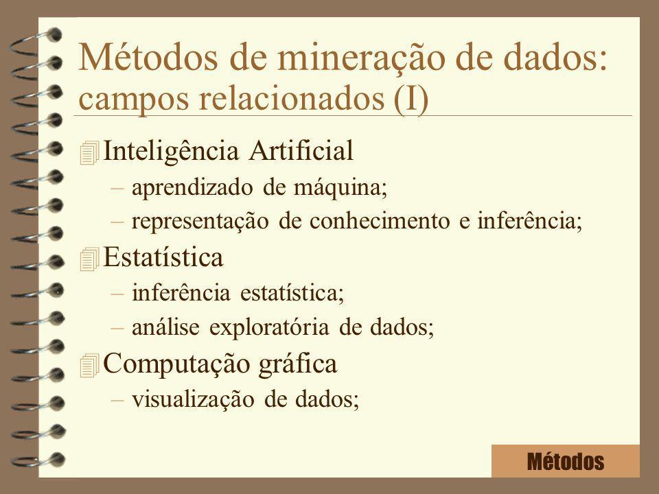 Métodos de mineração de dados: campos relacionados (I) 4 Inteligência Artificial –aprendizado de máquina; –representação de conhecimento e inferência;