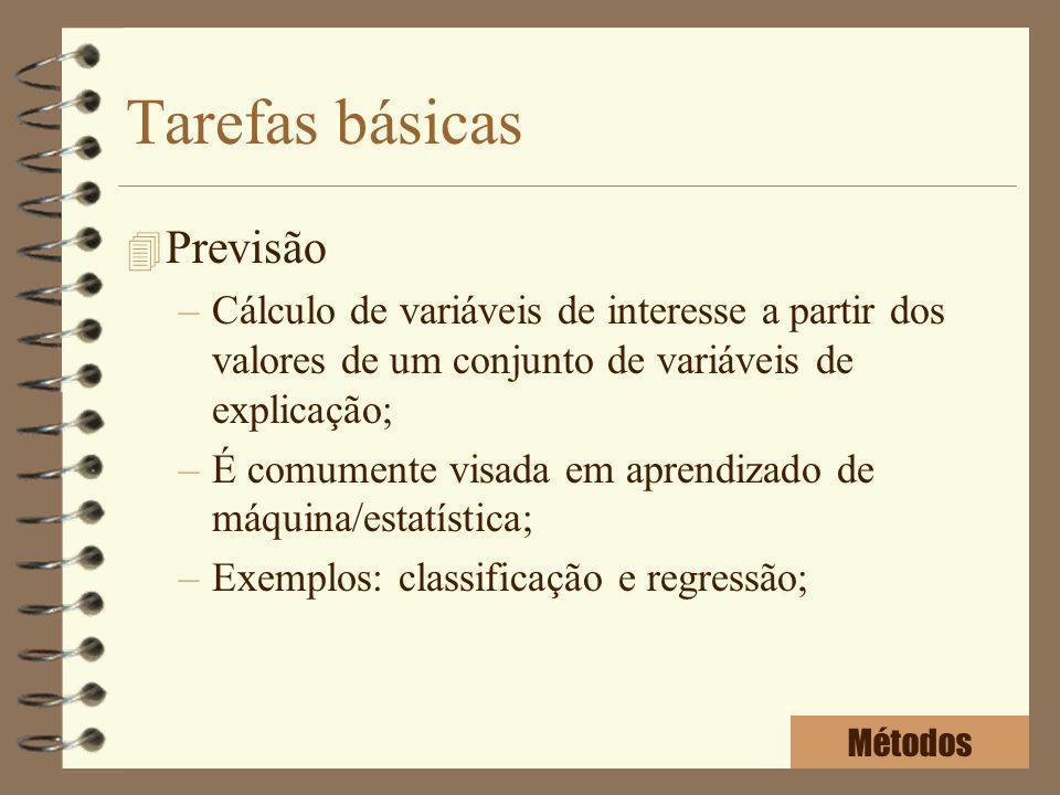 Tarefas básicas 4 Previsão –Cálculo de variáveis de interesse a partir dos valores de um conjunto de variáveis de explicação; –É comumente visada em a