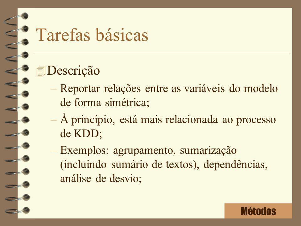 Tarefas básicas 4 Descrição –Reportar relações entre as variáveis do modelo de forma simétrica; –À princípio, está mais relacionada ao processo de KDD