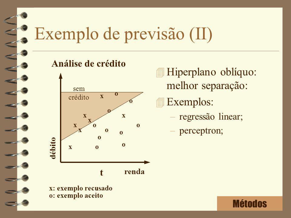 Exemplo de previsão (II) 4 Hiperplano oblíquo: melhor separação: 4 Exemplos: –regressão linear; –perceptron; Análise de crédito renda débito x x x x x