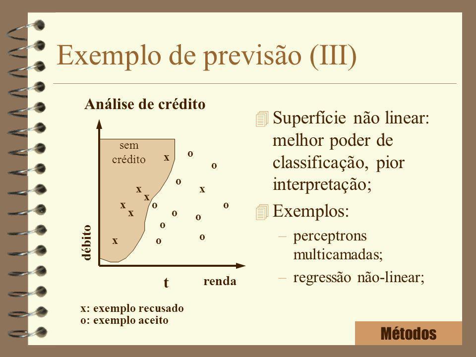 Exemplo de previsão (III) 4 Superfície não linear: melhor poder de classificação, pior interpretação; 4 Exemplos: –perceptrons multicamadas; –regressã