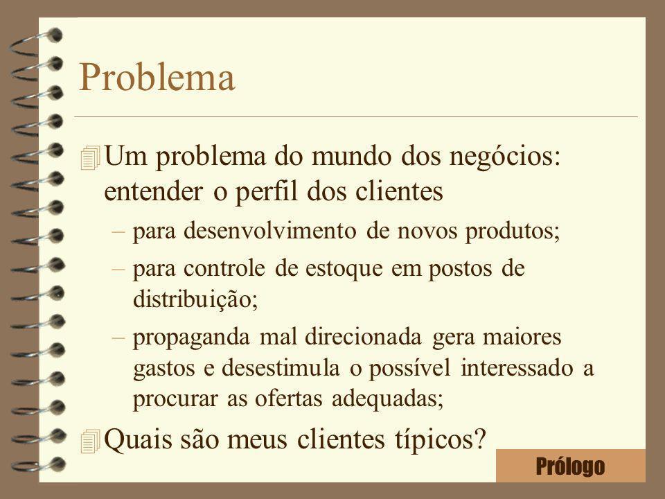 Problema 4 Um problema do mundo dos negócios: entender o perfil dos clientes –para desenvolvimento de novos produtos; –para controle de estoque em pos
