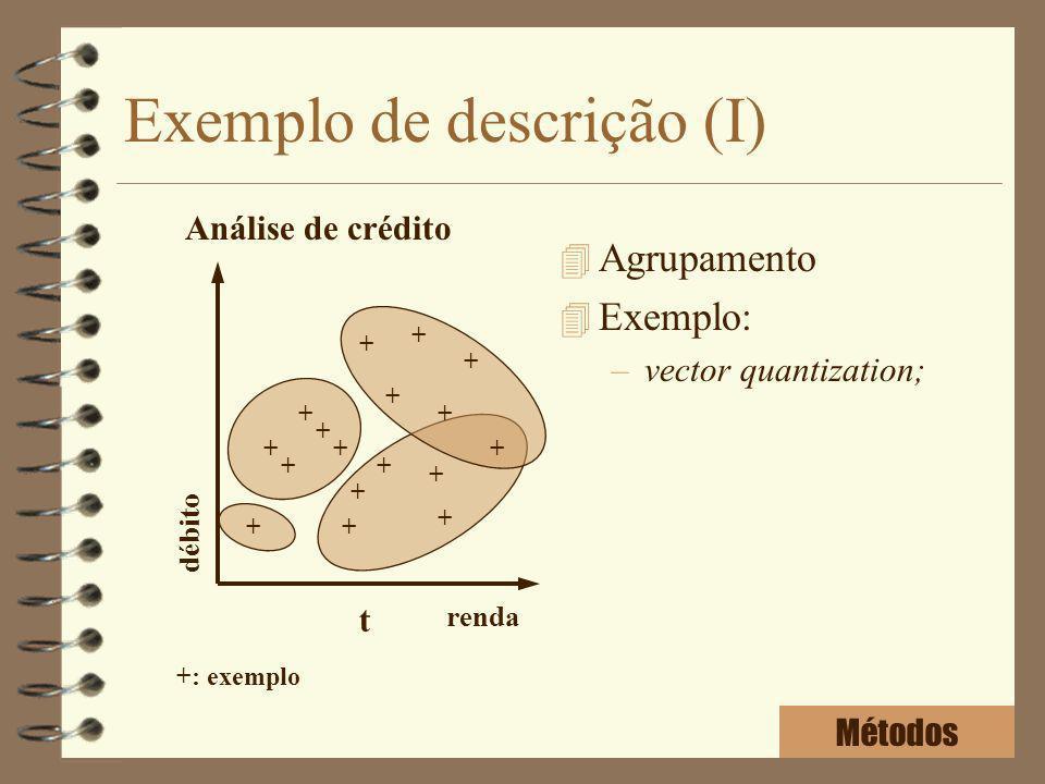 Exemplo de descrição (I) 4 Agrupamento 4 Exemplo: –vector quantization; renda débito + + + + + + + + + + + + + + + + t + +: exemplo Análise de crédito