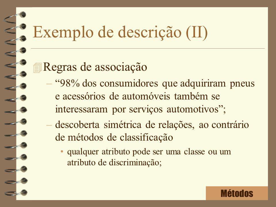Exemplo de descrição (II) 4 Regras de associação –98% dos consumidores que adquiriram pneus e acessórios de automóveis também se interessaram por serv