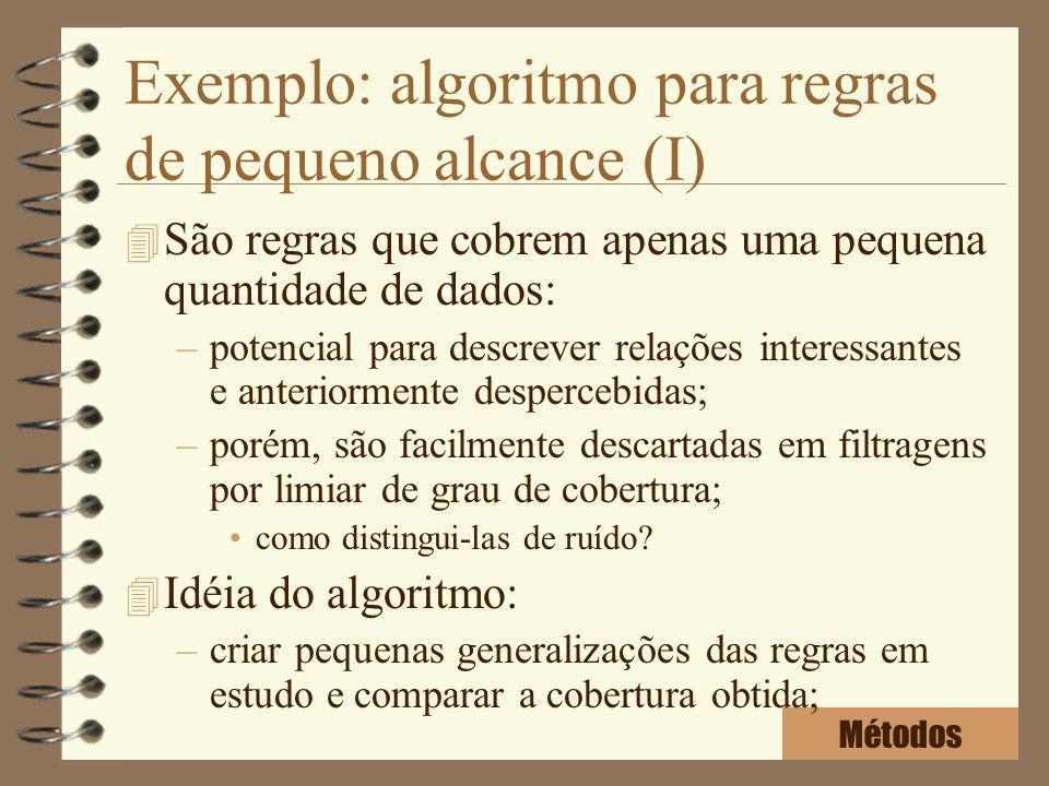 Exemplo: algoritmo para regras de pequeno alcance (I) 4 São regras que cobrem apenas uma pequena quantidade de dados: –potencial para descrever relaçõ