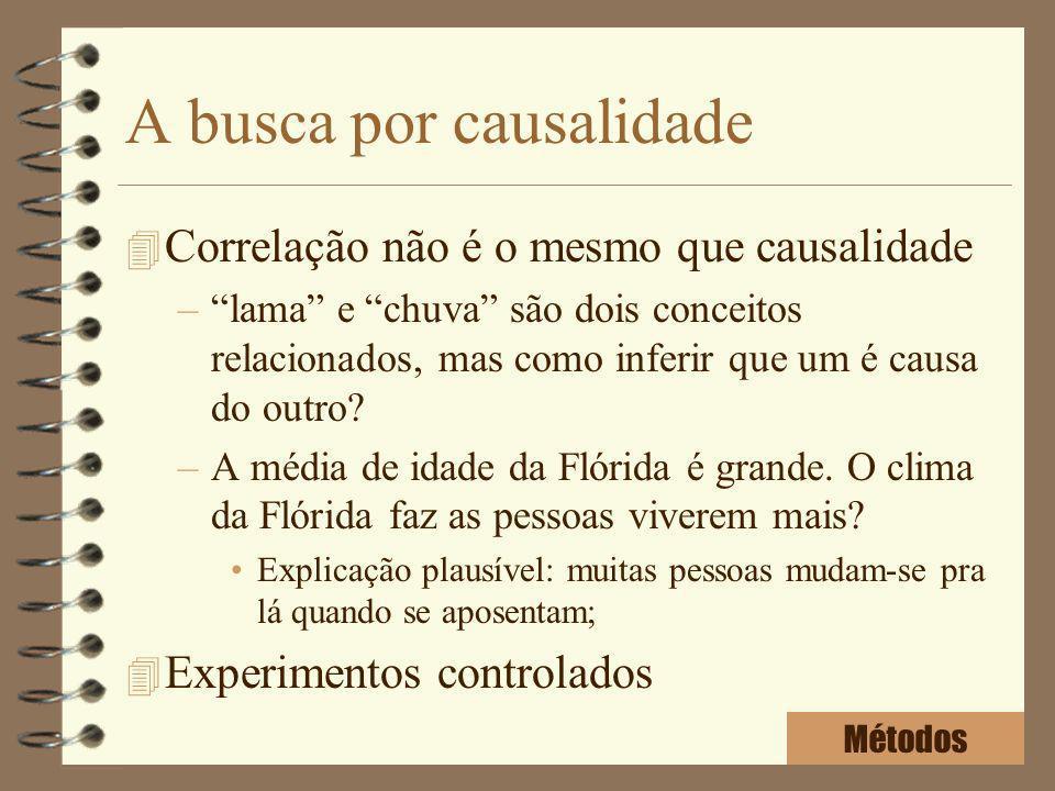 A busca por causalidade 4 Correlação não é o mesmo que causalidade –lama e chuva são dois conceitos relacionados, mas como inferir que um é causa do o