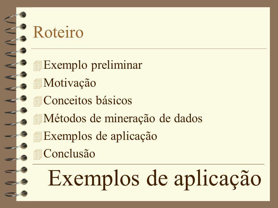 Exemplos de aplicação Roteiro 4 Exemplo preliminar 4 Motivação 4 Conceitos básicos 4 Métodos de mineração de dados 4 Exemplos de aplicação 4 Conclusão