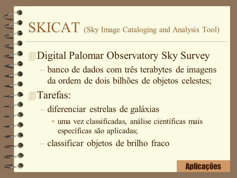 SKICAT (Sky Image Cataloging and Analysis Tool) 4 Digital Palomar Observatory Sky Survey –banco de dados com três terabytes de imagens da ordem de doi