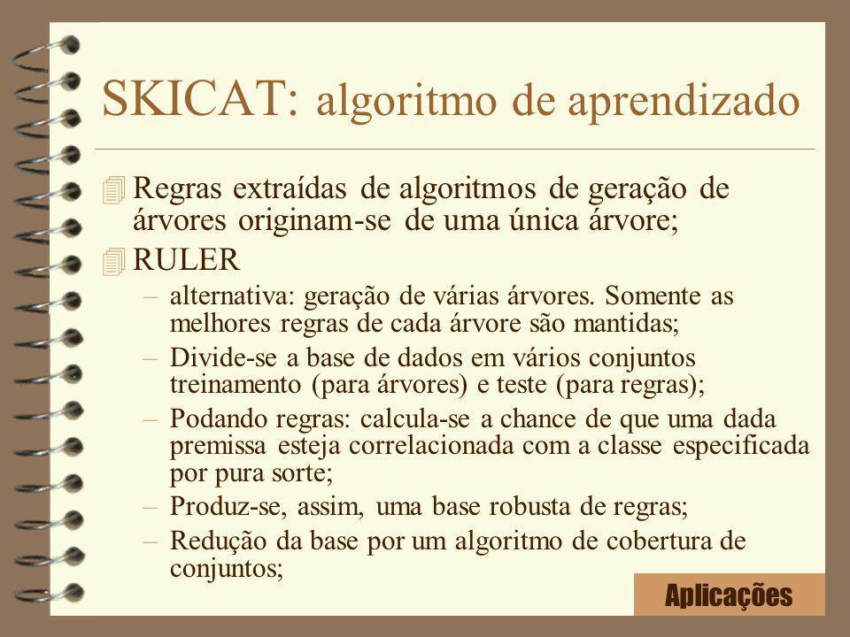 SKICAT: algoritmo de aprendizado 4 Regras extraídas de algoritmos de geração de árvores originam-se de uma única árvore; 4 RULER –alternativa: geração