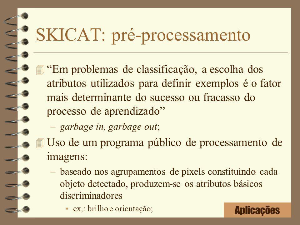 SKICAT: pré-processamento 4 Em problemas de classificação, a escolha dos atributos utilizados para definir exemplos é o fator mais determinante do suc