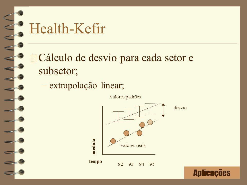 Health-Kefir 4 Cálculo de desvio para cada setor e subsetor; –extrapolação linear; 92939495 valores padrões valores reais desvio tempo medida Aplicaçõ