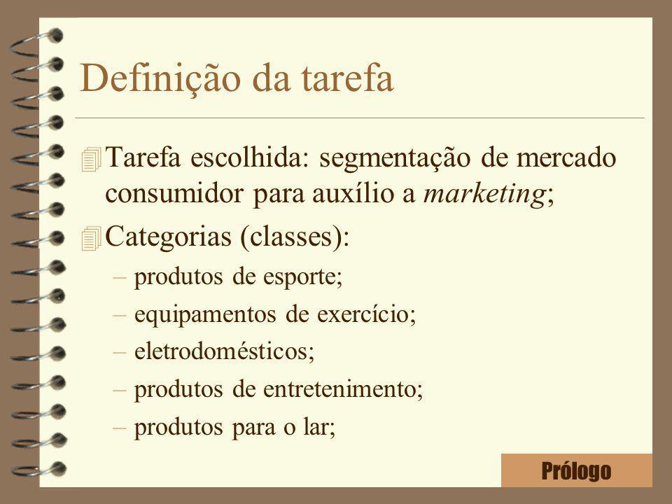 Definição da tarefa 4 Tarefa escolhida: segmentação de mercado consumidor para auxílio a marketing; 4 Categorias (classes): –produtos de esporte; –equ