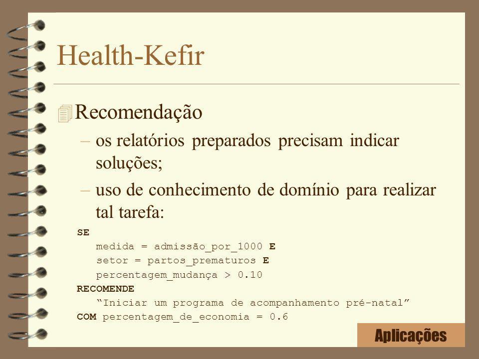 Health-Kefir 4 Recomendação –os relatórios preparados precisam indicar soluções; –uso de conhecimento de domínio para realizar tal tarefa: SE medida =