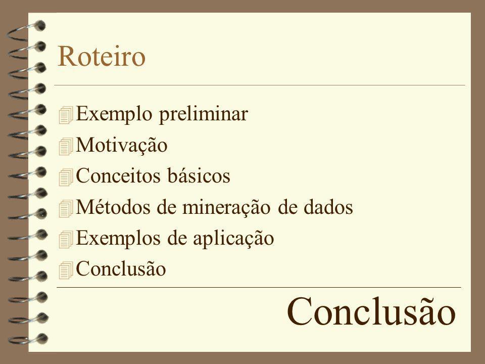 Conclusão Roteiro 4 Exemplo preliminar 4 Motivação 4 Conceitos básicos 4 Métodos de mineração de dados 4 Exemplos de aplicação 4 Conclusão