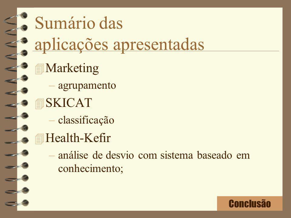 Sumário das aplicações apresentadas 4 Marketing –agrupamento 4 SKICAT –classificação 4 Health-Kefir –análise de desvio com sistema baseado em conhecim