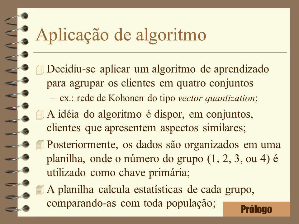 Aplicação de algoritmo 4 Decidiu-se aplicar um algoritmo de aprendizado para agrupar os clientes em quatro conjuntos –ex.: rede de Kohonen do tipo vec