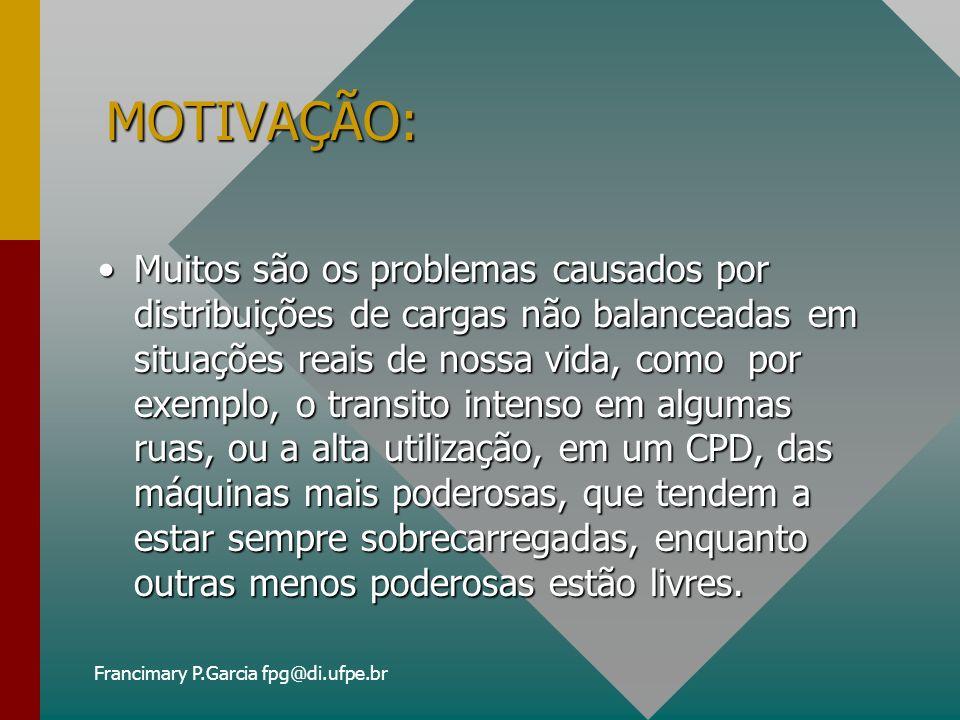 Francimary P.Garcia fpg@di.ufpe.br CNP (cont.) VANTAGENS:VANTAGENS: –Agentes podem fazer ofertas para múltiplas tarefas; –Fornece um balanceamento de carga natural.