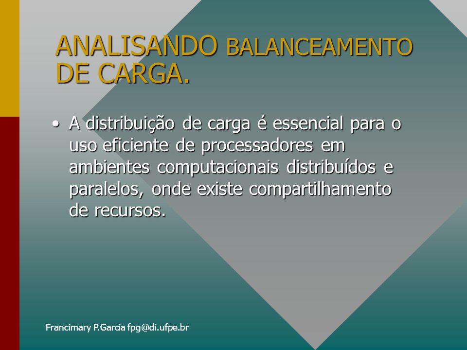 Francimary P.Garcia fpg@di.ufpe.br ANALISANDO BALANCEAMENTO DE CARGA (cont.) Exemplos: Usando BCSR: R1 R2 CARGA BAIXACARGA ALTA CARGA BAIXA AGENTES ESCOLHEM r1 AGENTES ESCOLHEM R2 CONTINUAM COM R2