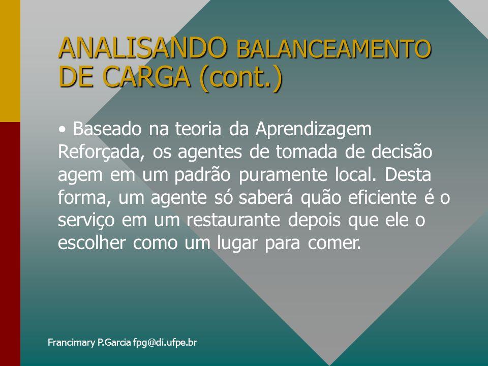Francimary P.Garcia fpg@di.ufpe.br ANALISANDO BALANCEAMENTO DE CARGA (cont.) Um job pode rodar em qualquer recurso, não existe limite no número de jobs servidos simultaneamente por um dado recurso, portanto não ocorre fila.