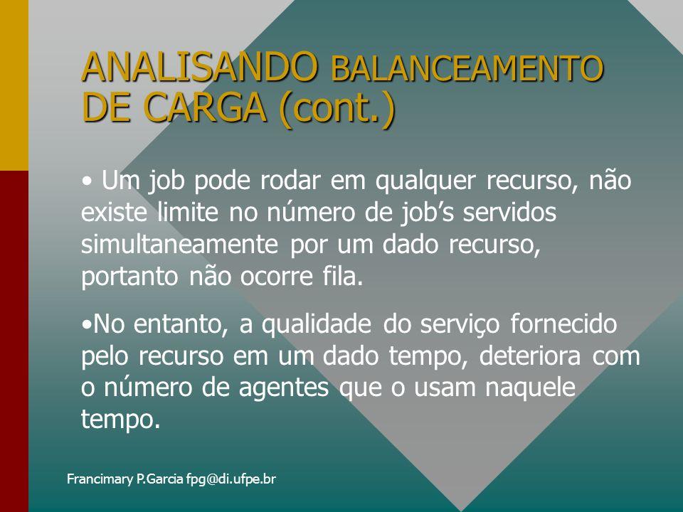 Francimary P.Garcia fpg@di.ufpe.br ANALISANDO BALANCEAMENTO DE CARGA (cont.) REGRAS DE SELEÇÃO DE RECURSO: É o coração desta discussão e se baseará em informações puramente locais.