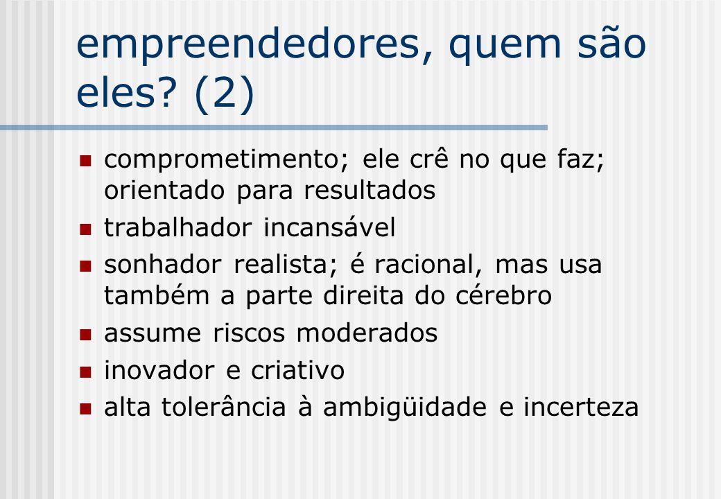 empreendedores, quem são eles? (2) comprometimento; ele crê no que faz; orientado para resultados trabalhador incansável sonhador realista; é racional