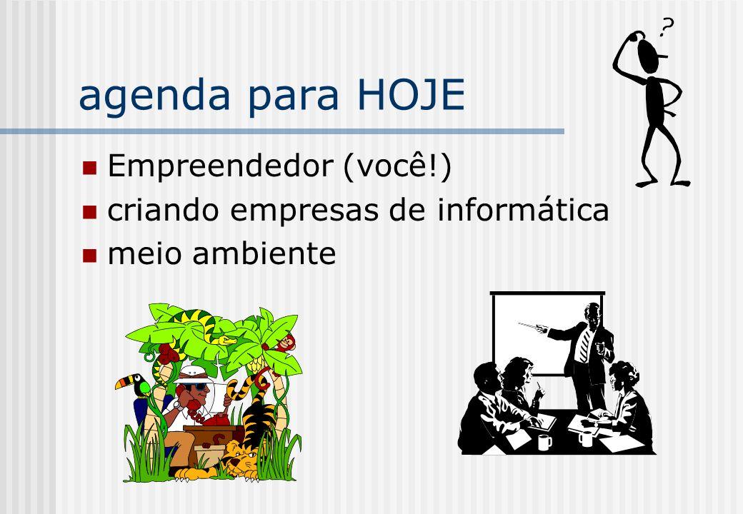 agenda para HOJE Empreendedor (você!) criando empresas de informática meio ambiente