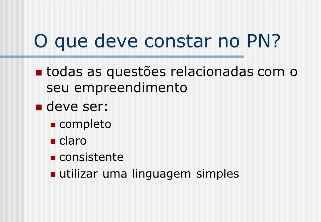 O que deve constar no PN? todas as questões relacionadas com o seu empreendimento deve ser: completo claro consistente utilizar uma linguagem simples