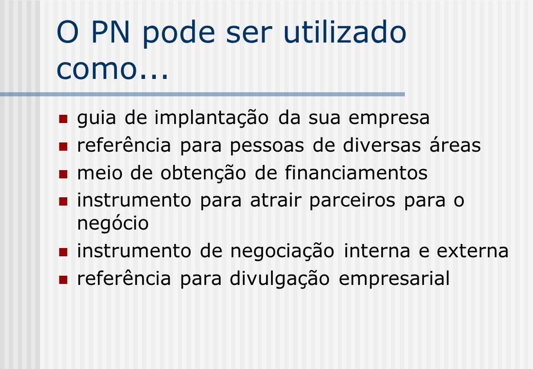 O PN pode ser utilizado como... guia de implantação da sua empresa referência para pessoas de diversas áreas meio de obtenção de financiamentos instru