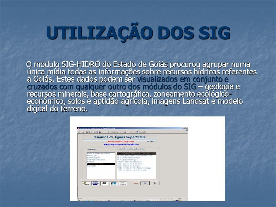 UTILIZAÇÃO DOS SIG O módulo SIG-HIDRO do Estado de Goiás procurou agrupar numa única mídia todas as informações sobre recursos hídricos referentes a G
