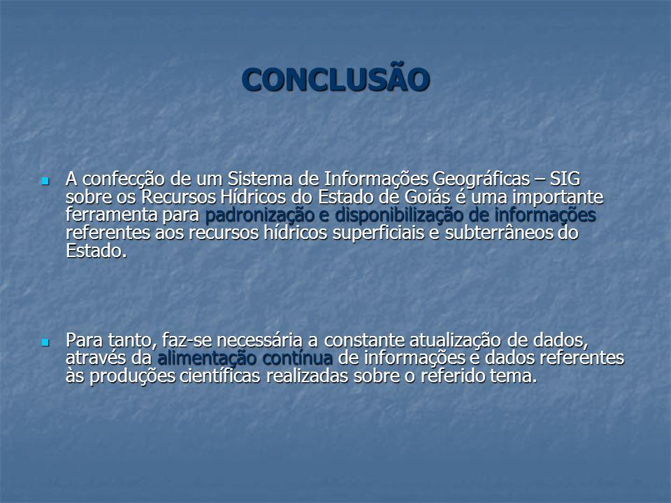 CONCLUSÃO A confecção de um Sistema de Informações Geográficas – SIG sobre os Recursos Hídricos do Estado de Goiás é uma importante ferramenta para pa