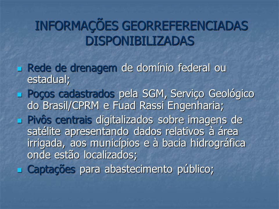 INFORMAÇÕES GEORREFERENCIADAS DISPONIBILIZADAS INFORMAÇÕES GEORREFERENCIADAS DISPONIBILIZADAS Rede de drenagem de domínio federal ou estadual; Rede de