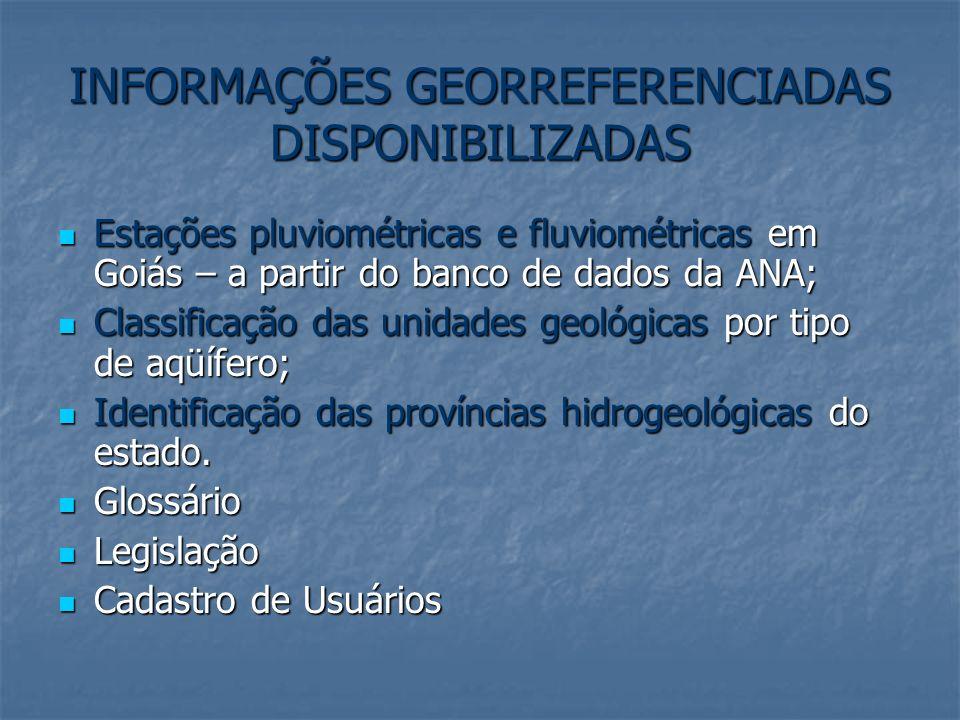 INFORMAÇÕES GEORREFERENCIADAS DISPONIBILIZADAS Estações pluviométricas e fluviométricas em Goiás – a partir do banco de dados da ANA; Estações pluviom