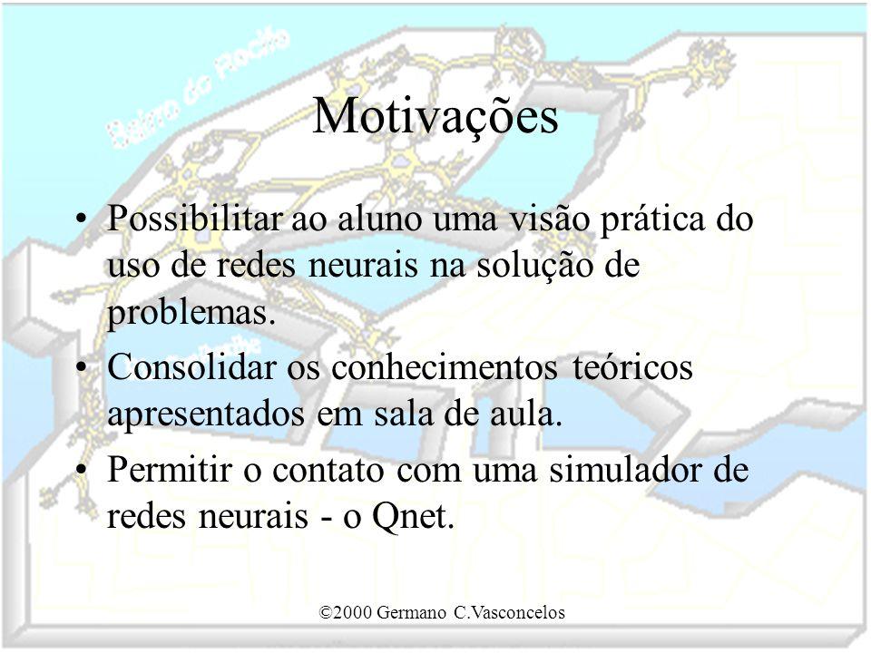 ©2000 Germano C.Vasconcelos Motivações Possibilitar ao aluno uma visão prática do uso de redes neurais na solução de problemas. Consolidar os conhecim